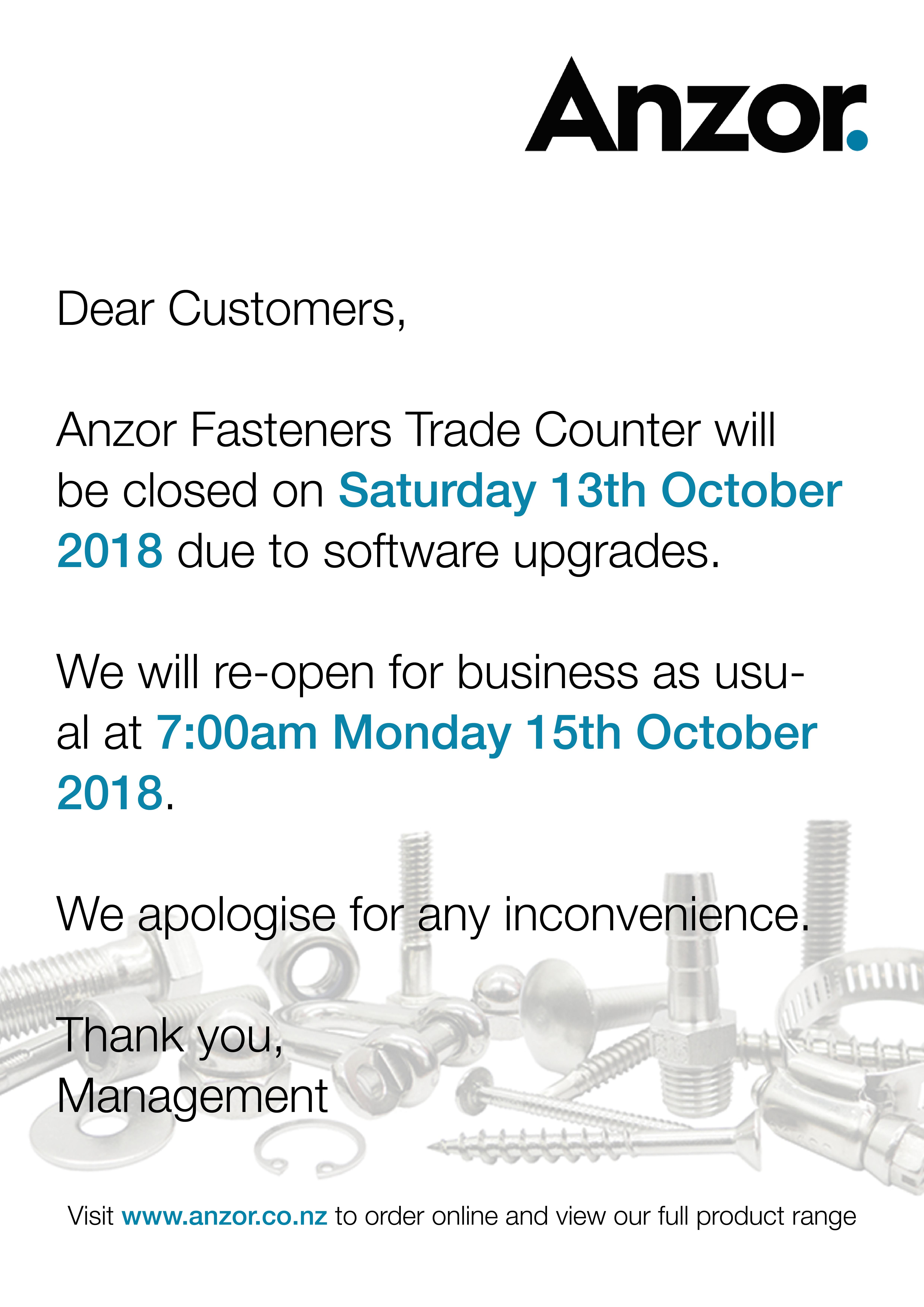 Saturday Closure