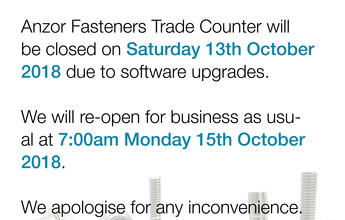 Albany Trade Counter Closed Saturday 13th October 2018